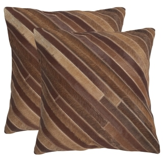 Safavieh Cherilyn Tan 22-inch Square Throw Pillows (Set of 2)