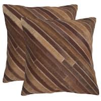 Safavieh Cherilyn Tan 22-inch Square Throw Pillows (Set of 2)