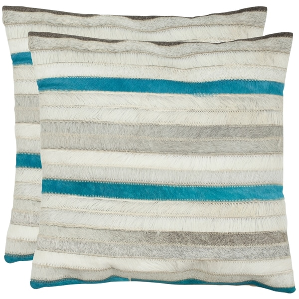 Safavieh Quinn Grey 18-inch Square Decorative Throw Pillows (Set of 2)
