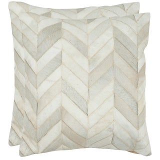 Safavieh Marley Multi/ White 18-inch Square Decorative Throw Pillows (Set of 2)
