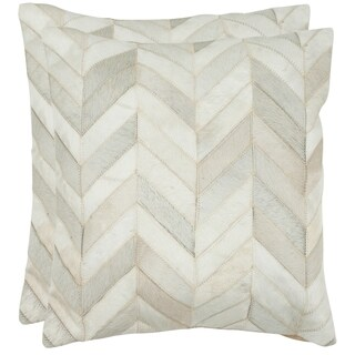 Safavieh Marley Multi/ White 22-inch Square Throw Pillows (Set of 2)