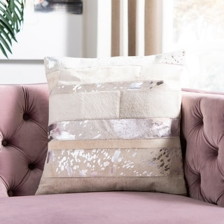 Safavieh Peyton Silver 18-inch Square Throw Pillows (Set of 2)