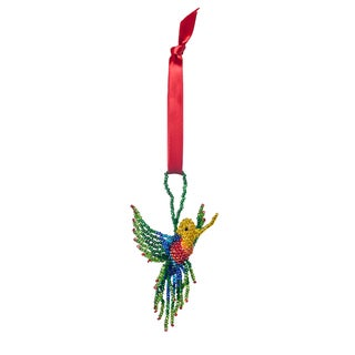 Beaded Hummingbird Ornament , Handmade in Guatemala