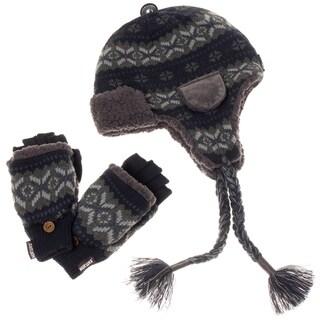Muk Luks Men's Trapper Hat and Flip Mitten Set