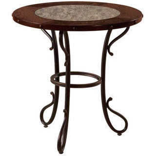 Emerald Antique Mirror and Metal Base Round End Table
