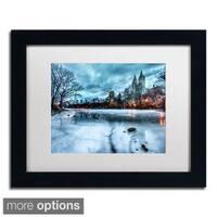 David Ayash 'Frozen Central Park Lake II' Framed Matted Art