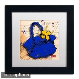 Roderick Stevens 'Flower Purse Yellow on Blue' Framed Matted Art