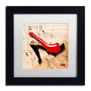 Roderick Stevens 'Suede Heel Red' Framed Matted Art