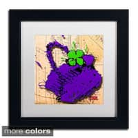 Roderick Stevens 'Flower Purse Green on Purple' Framed Matted Art