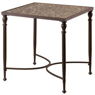 Emerald Metal and Antique Mirror End Table