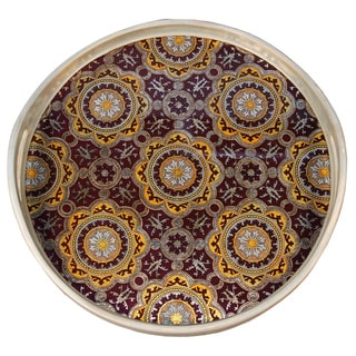 Rabat Moroccan Stained Glass Window Mustard Brown Round Tray