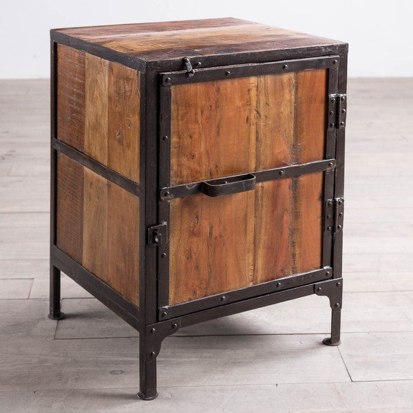 Handmade hyderabad reclaimed wood and metal end table for Reclaimed wood and metal table