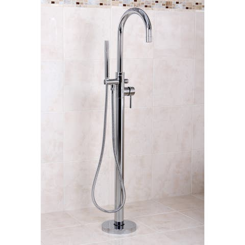 Floor Mount Chrome Tub Filler with Hand Shower