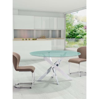 Stance Crackled Glass and Chrome Steel Base Dining Table Free