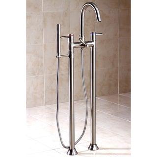 Dual Post Floor Mount Satin Nickel Tub Filler with Hand Shower