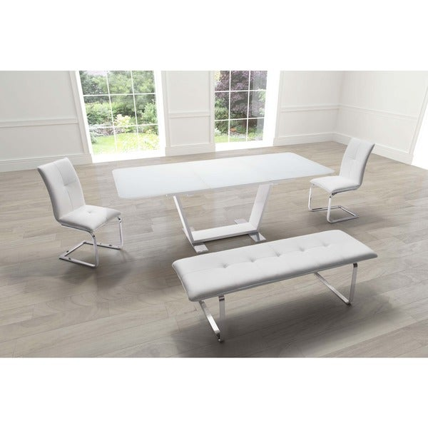 St. Charles Extension White Steel And Glass Dining Table