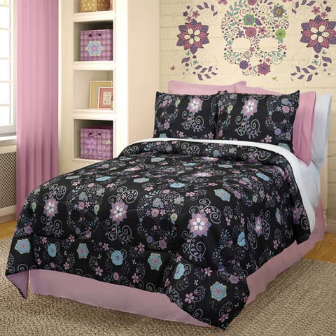 Veratex Floral Sugar Skulls Black 3-piece Comforter Set