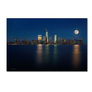 David Ayash 'Supermoon Rise Over Downtown - NYC' Canvas Art