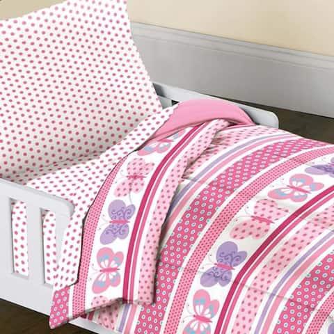 Dream Factory Butterfly Dots 4-piece Toddler Comforter Set