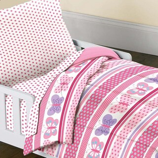 Dream Factory Butterfly Dots 4-piece Toddler Bedding Set