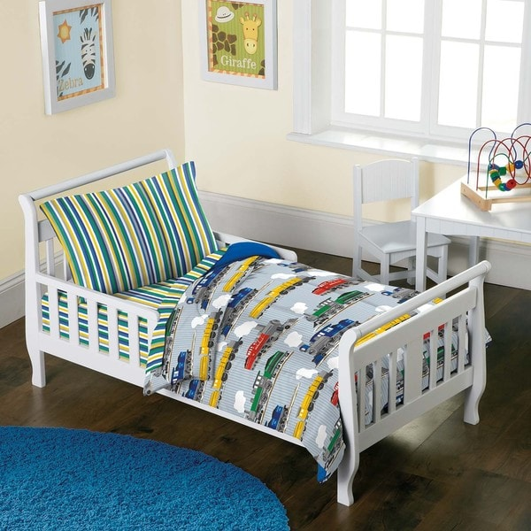 Dream Factory Trains 4-piece Toddler Bedding Set