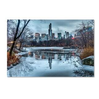 David Ayash 'Frozen Central Park Lake I' Canvas Art