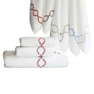Authentic Hotel and Spa Embroidered Tile Turkish Cotton 3-piece Towel Set