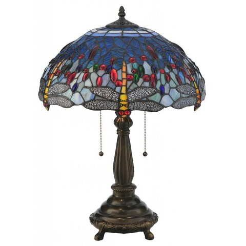 22-inch Tiffany-style Hanginghead Dragonfly Table Lamp