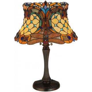 Tiffany-style Hanging Head 2-light Dragonfly Table Lamp