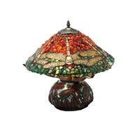 16.5-inch Dragonfly Polished Jasper Table Lamp - 16.5
