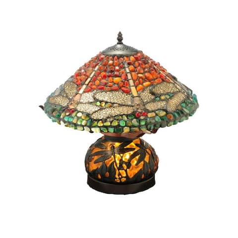 16.5-inch Dragonfly Polished Jasper with Lighted Base Table Lamp - 16.5