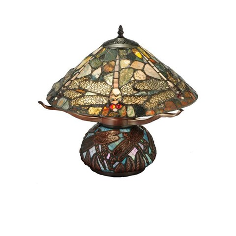 16.5-inch Dragonfly Cut Jasper Table Lamp - 16.5