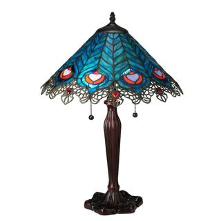 23-inch Peacock Feather Lace Table Lamp