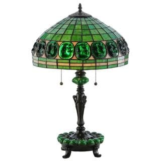 25-inch Turtleback Green Accent Base Table Lamp
