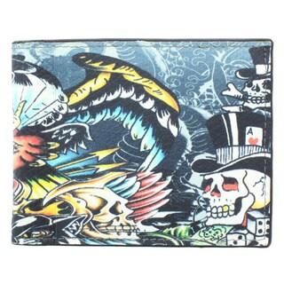 YL Fashion 'Ed Eagel' Men's Leather Bi-fold Wallet