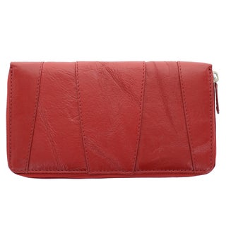 YL Fashion Women's Red Patchwork Leather Zip-around Wallet