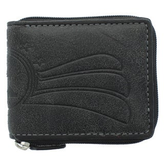 YL Fashion Men's Black Leather Zip-around Wallet