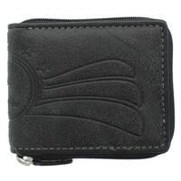 YL Fashion Men's Black Leather Zip-around Wallet