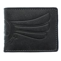 YL Fashion Men's Black Leather Bi-fold Wallet
