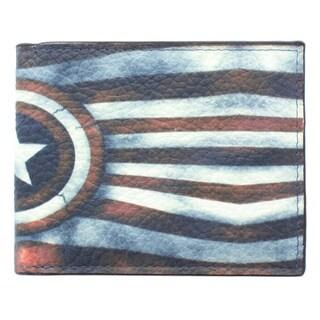 YL Fashion 'USA Star' Men's Leather Bi-fold Wallet