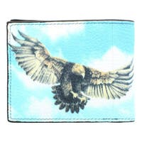 YL Fashion 'Eagles' Men's Leather Bi-fold Wallet  - Blue