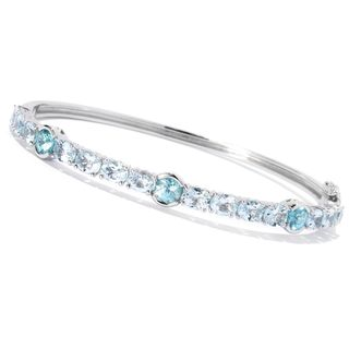 Sterling Silver Aquamarine Blue Zircon Bangle Bracelet
