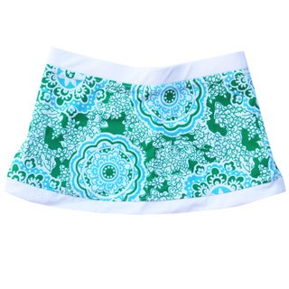 Azul Swimwear Girl's 'Juliana' Green/ White Swim Skirt