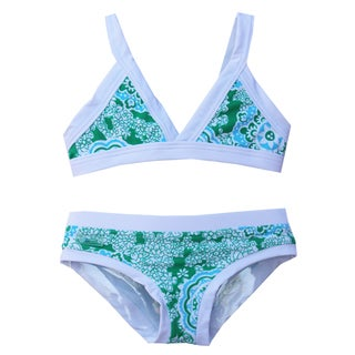 Azul Swimwear Girl's 'Juliana' Green/ White Bikini Swimsuit