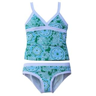 Azul Swimwear Girl's 'Juliana' Green/ White Tankini Swimsuit (Size 4)