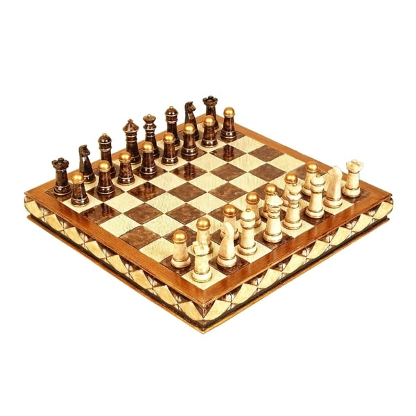 Traditional 5 x 17 Inch Resin Chess Set by Studio 350 - Brown - N/A