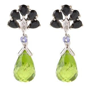 Sterling Silver Peridot Multi-gemstone Dangle Earrings