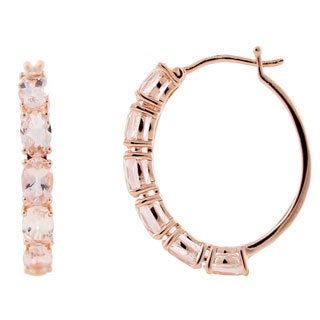 Rose Gold over Sterling Silver Oval 5 TCW Morganite Hoop Earrings