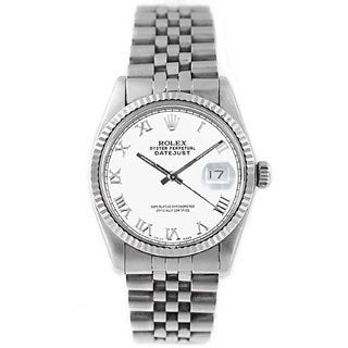 Pre-owned Men's Rolex Datejust 16014 Stainless Steel White Roman Watch