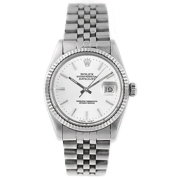 Pre-Owned Rolex Men's Datejust 16014 Stainless Steel White Stick Watch
